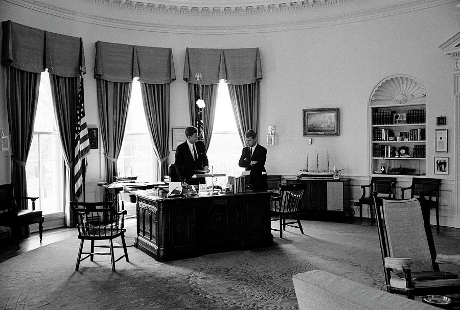 President John F. Kennedy L And His Photograph by Art Rickerby