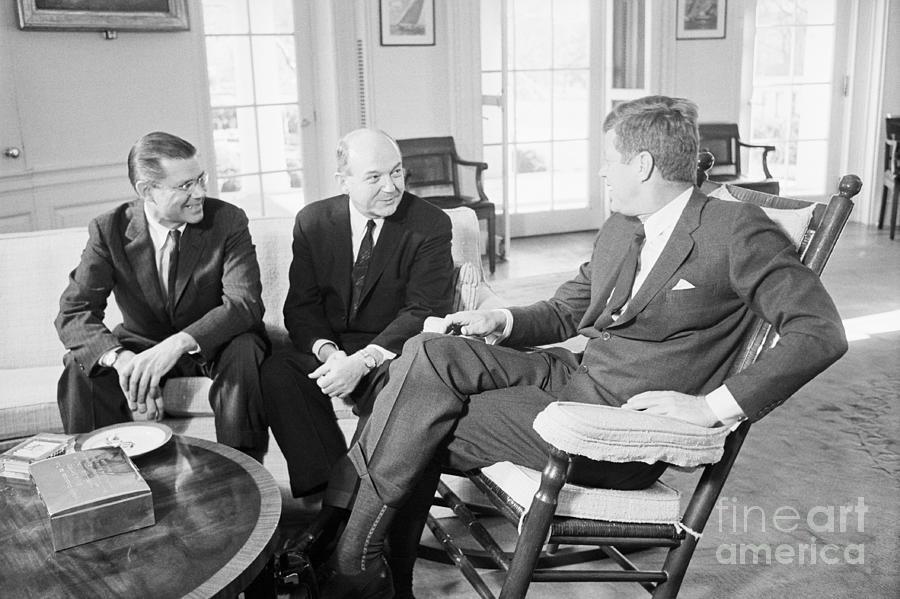 President Kennedy In Meeting Photograph by Bettmann