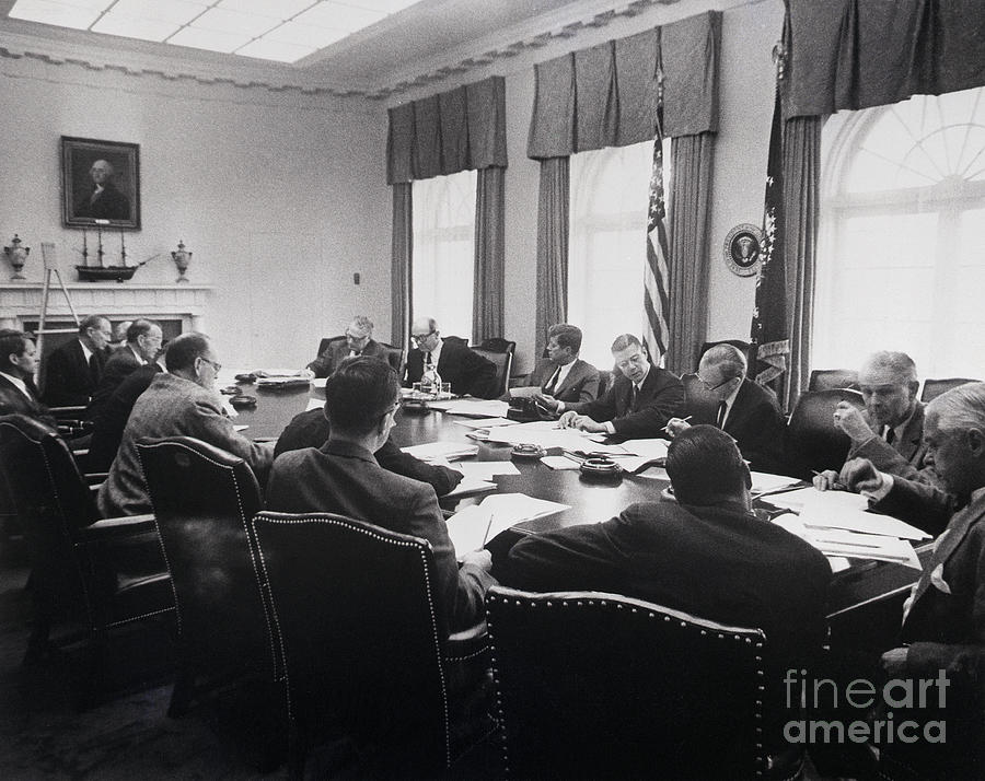 President Kennedy Meeting With Cabinet Photograph by Bettmann