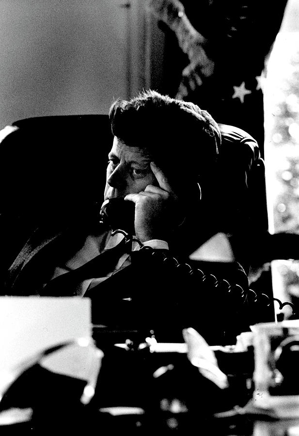 President Kennedy On The Telephone Photograph by Art Rickerby