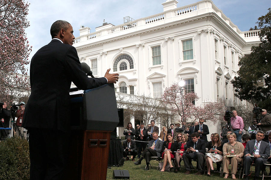 President Obama Makes Statement On Photograph by Win Mcnamee