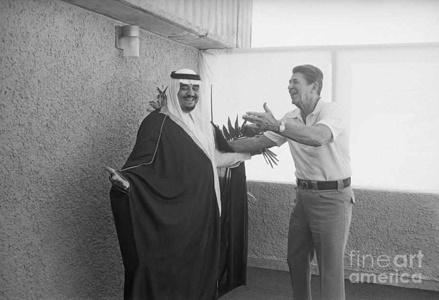 President Reagan Gestures To Prince Fahd Photograph by Bettmann