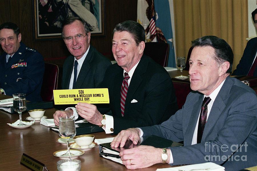 President Reagan Holding Up Bumper Photograph by Bettmann