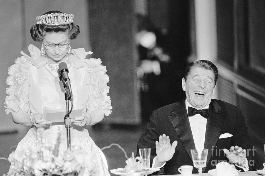 President Reagan Laughing At Queens Photograph by Bettmann