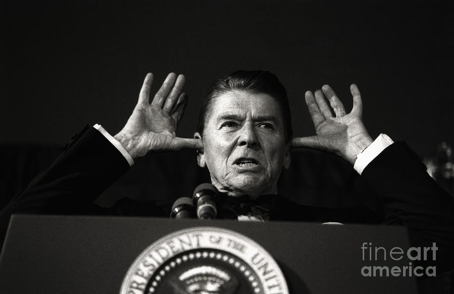 President Reagan Making Gesture Photograph by Bettmann
