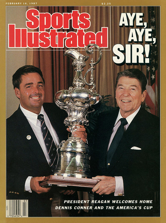 President Ronald Reagan And Stars & Stripes Dennis Conner Sports Illustrated Cover Photograph by Sports Illustrated