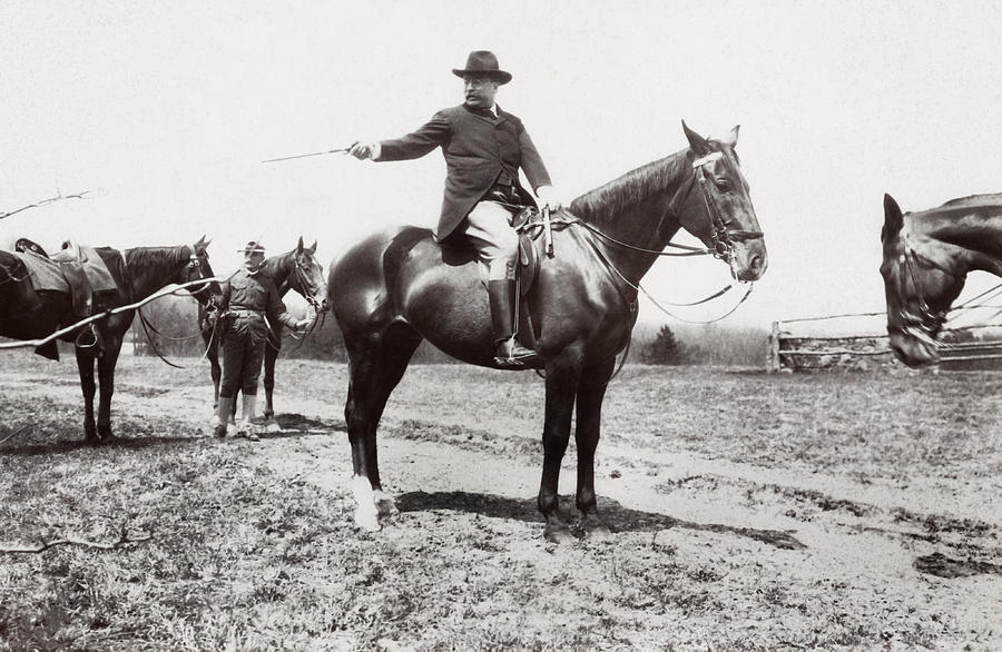 Theodore Roosevelt Photograph - President Roosevelt Horseback Riding - 1907 by War Is Hell Store