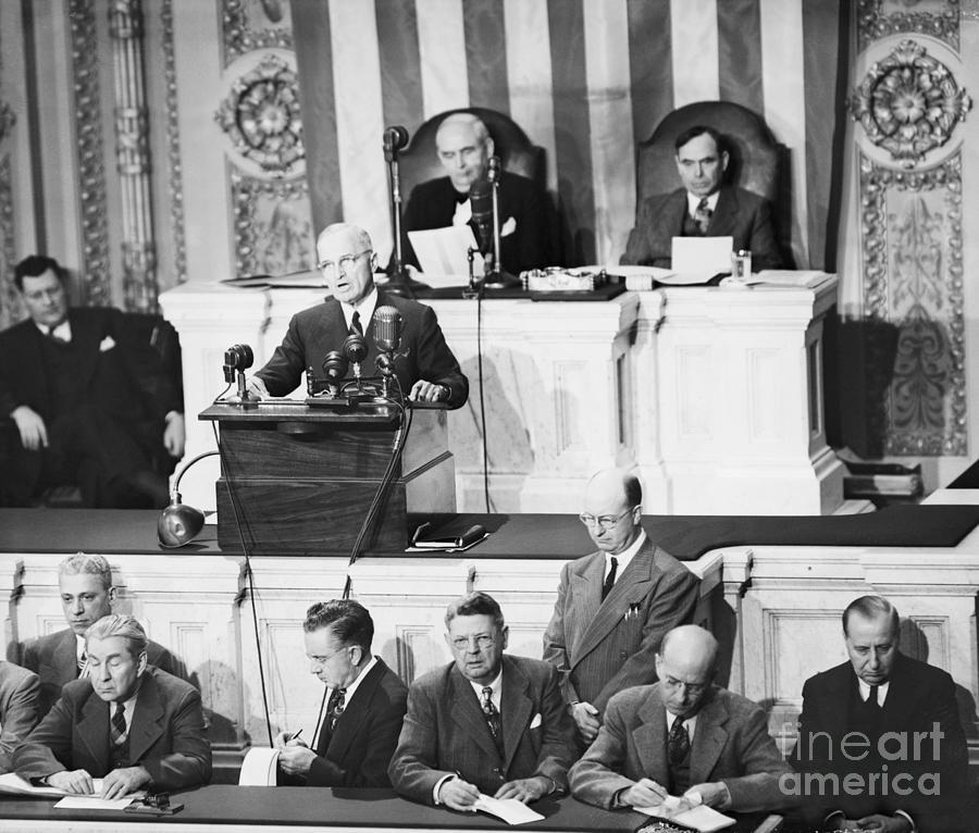 President Truman Addressing Congress Photograph by Bettmann