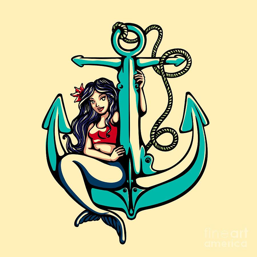 Symbol Digital Art - Pretty Siren Mermaid Pin Up Girl by Durantelallera