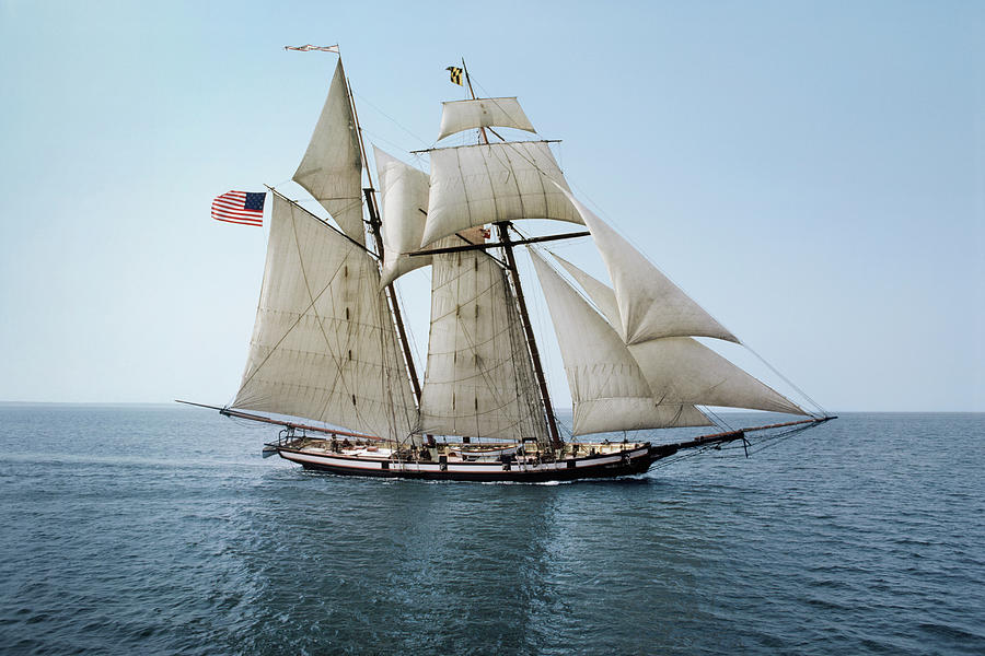 Pride Of Baltimore Sailing On The Photograph by Greg Pease