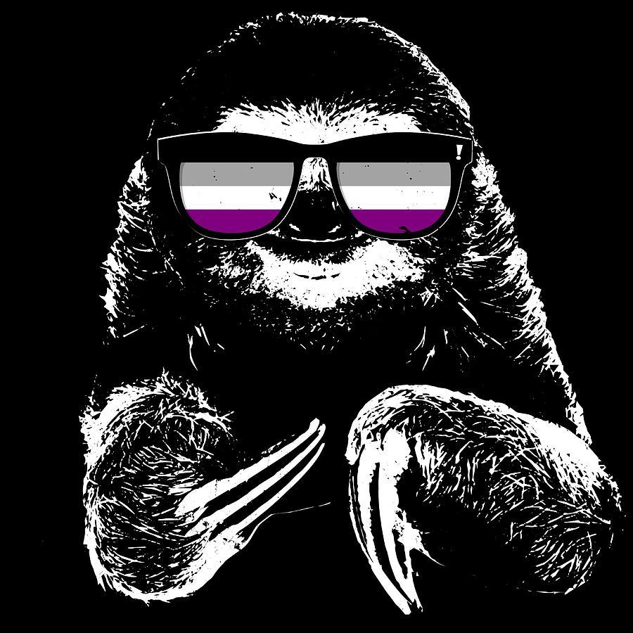 pride sloth asexual flag sunglasses digital art by patrick hiller
