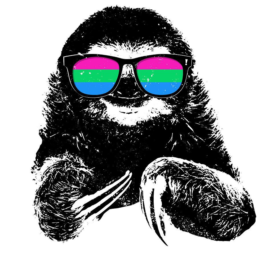 pride sloth polysexual flag sunglasses digital art by patrick hiller