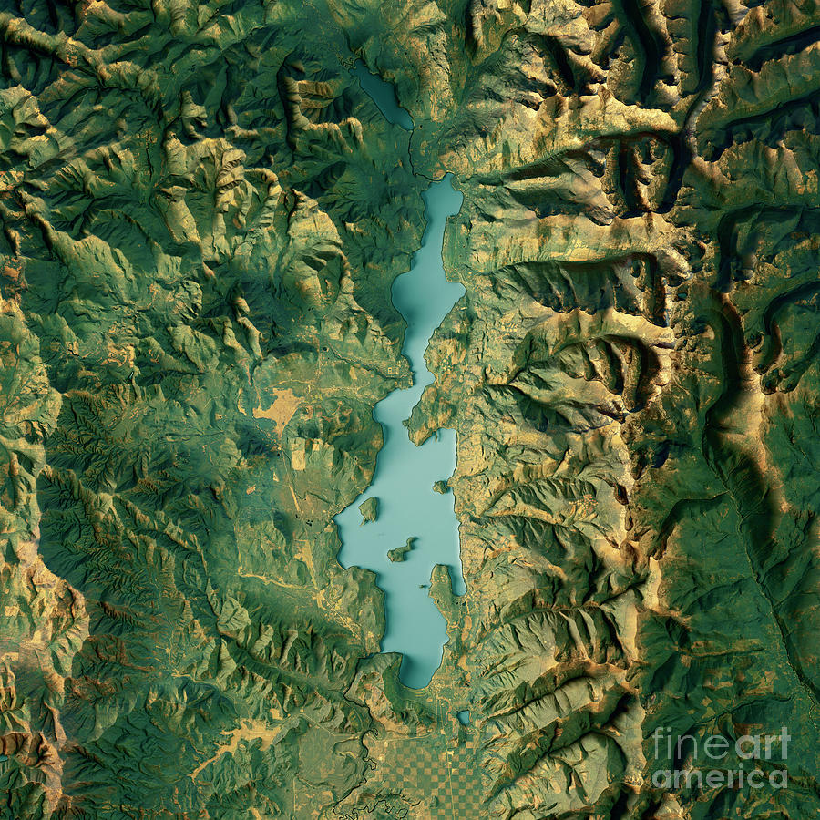 Priest Lake 3d Render Topographic Map Color