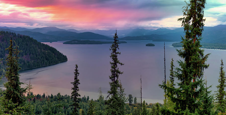 Nature Photograph - Priest Lake Sunset View by Leland D Howard