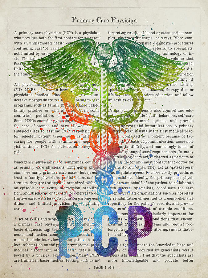 Pcp Digital Art - Primary Care Physician Gift Idea With Caduceus Illustration 03 by Aged Pixel