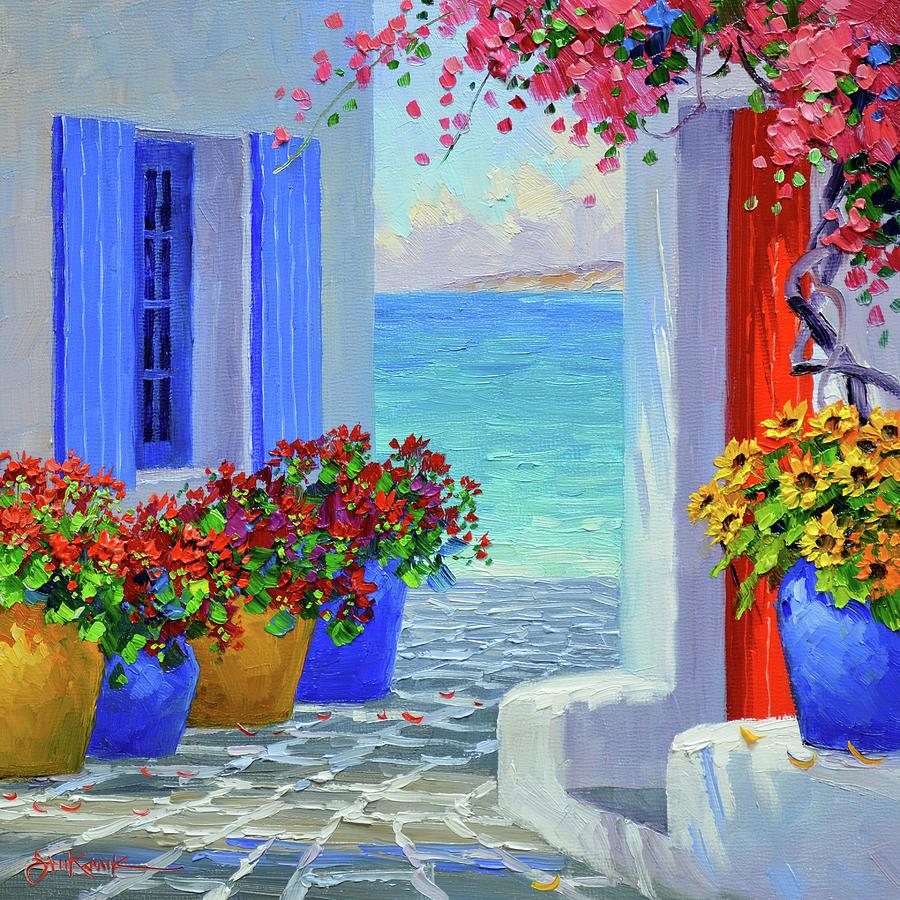 Mykonos Painting - Primary Colors of Mykonos by Mikki Senkarik