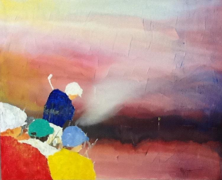 Golfers Painting - Primary Colors by Robert Yonke
