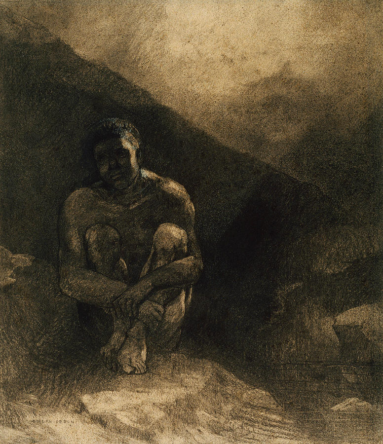 French Painters Drawing - Primitive Man by Odilon Redon