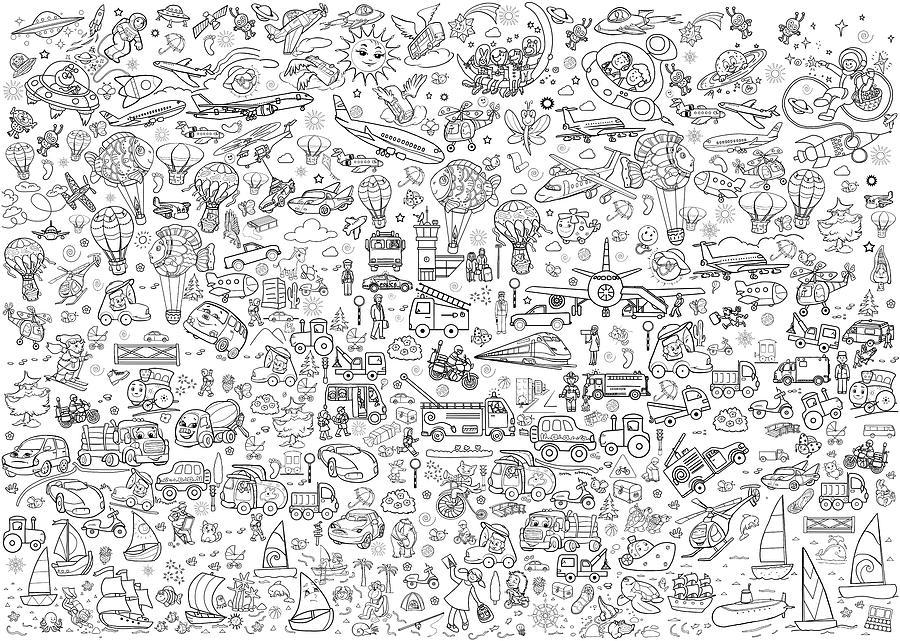 Line Art Illustration. Printable Coloring Pages For Children. Poster.  Transport. Digital Art By Olha Zolotnyk