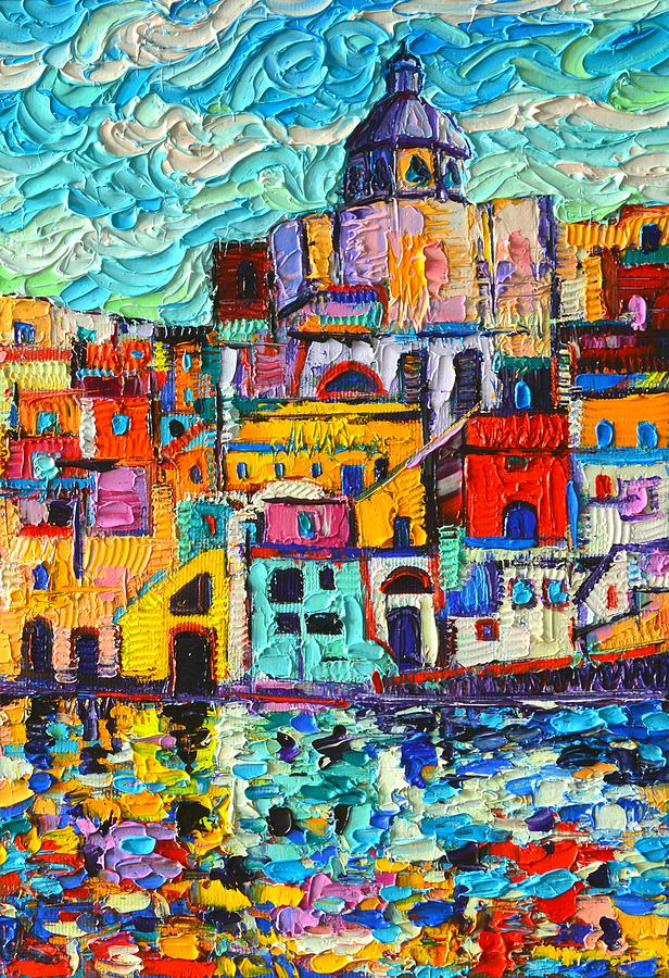 PROCIDA COLORS MARINA CORRICELLA textural impasto palette knife oil painting by Ana Maria Edulescu  by ANA MARIA EDULESCU