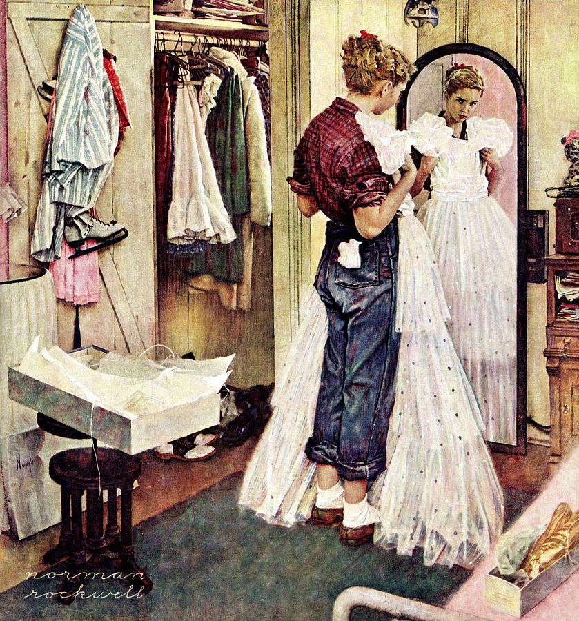 Dresses Drawing - Prom Dress by Norman Rockwell