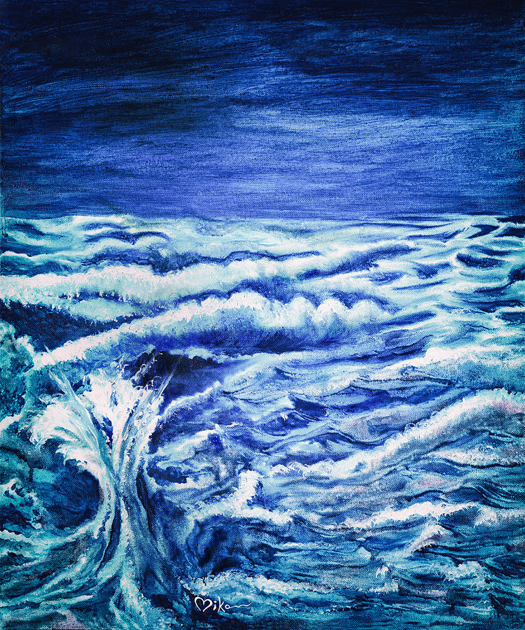 Ocean Painting - Promethea Ocean Triptych 3 by Miko At The Love Art Shop