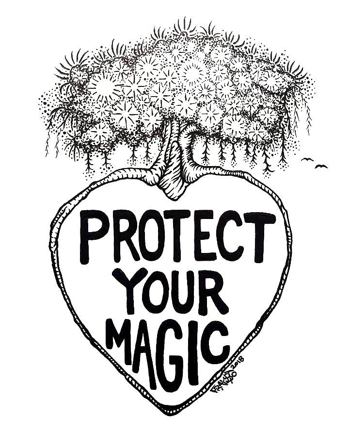 Pen And Ink Drawing - Protect Your Magic Drawing by Rick Frausto