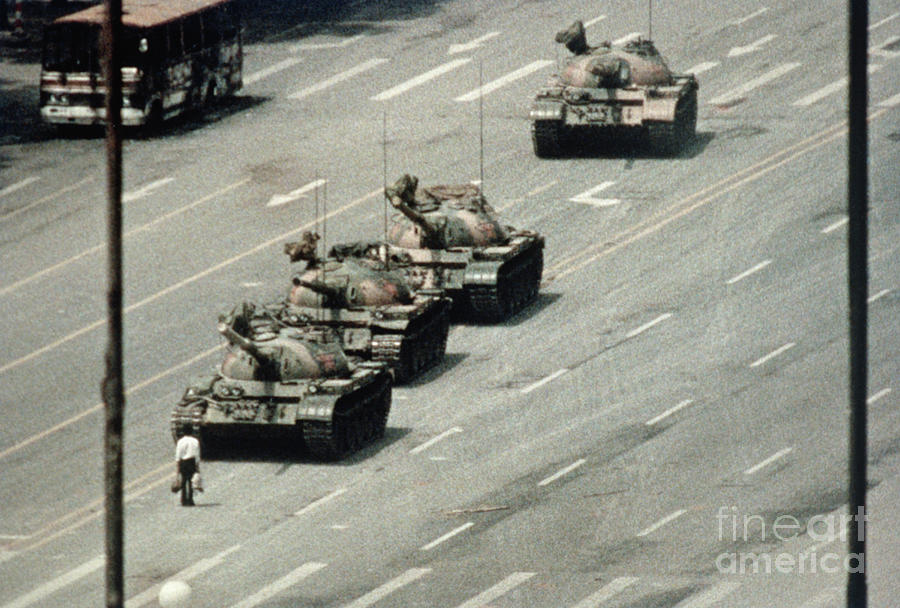 Protester Blocking Tanks Approaching Photograph by Bettmann