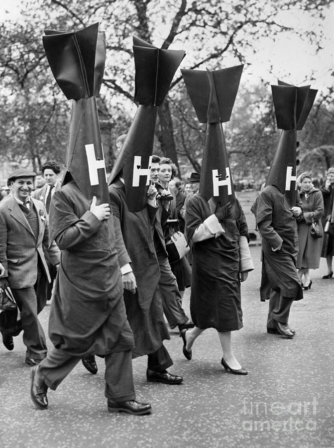 Protesters Dressed In H-bomb Costumes Photograph by Bettmann