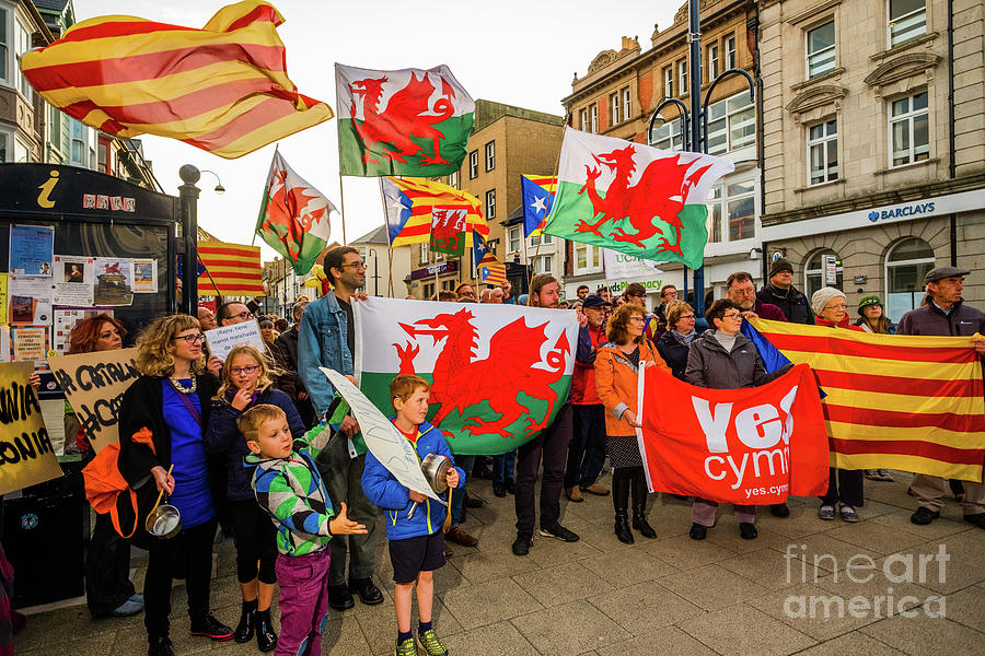 Aberystwyth Photograph - Protesting In Support Of Catalonia by Keith Morris