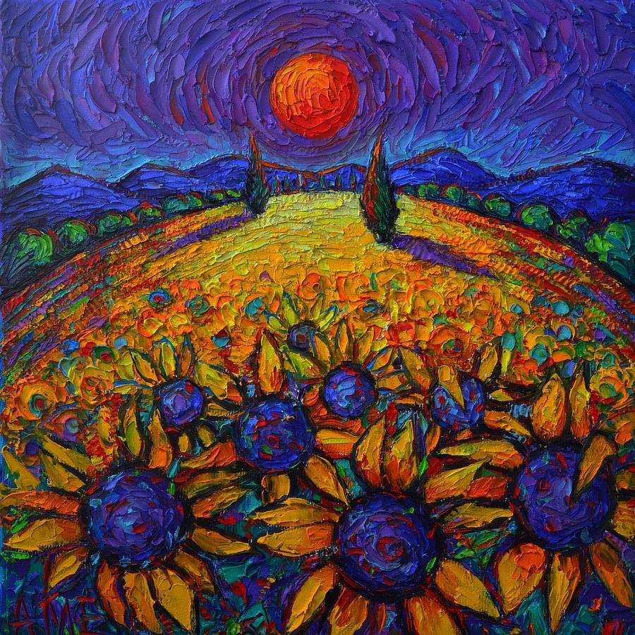 PROVENCE COLORFUL NIGHT sunflowers abstract landscape impasto knife oil painting Ana Maria Edulescu by ANA MARIA EDULESCU