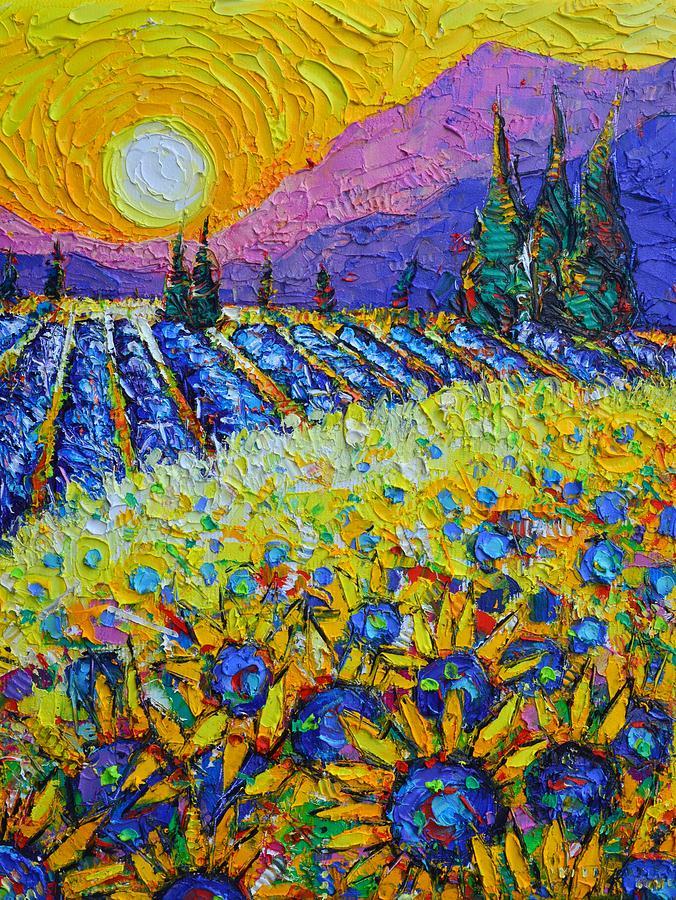 PROVENCE SUNRISE OF GOLD abstract landscape textural impasto knife oil painting Ana Maria Edulescu by ANA MARIA EDULESCU