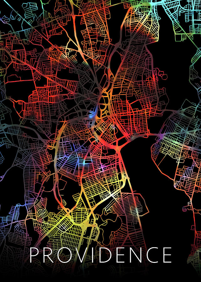 Providence Mixed Media - Providence Rhode Island Watercolor City Street Map Dark Mode by Design Turnpike