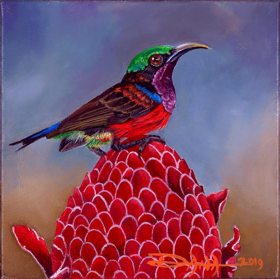 Birds Painting - Pruple Throated Sunbird On Red Torch Ginger by Dana Newman
