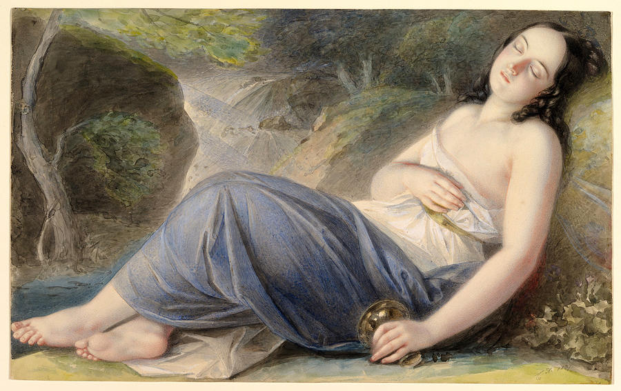 Psyche Asleep in a Landscape by Karl Agricola