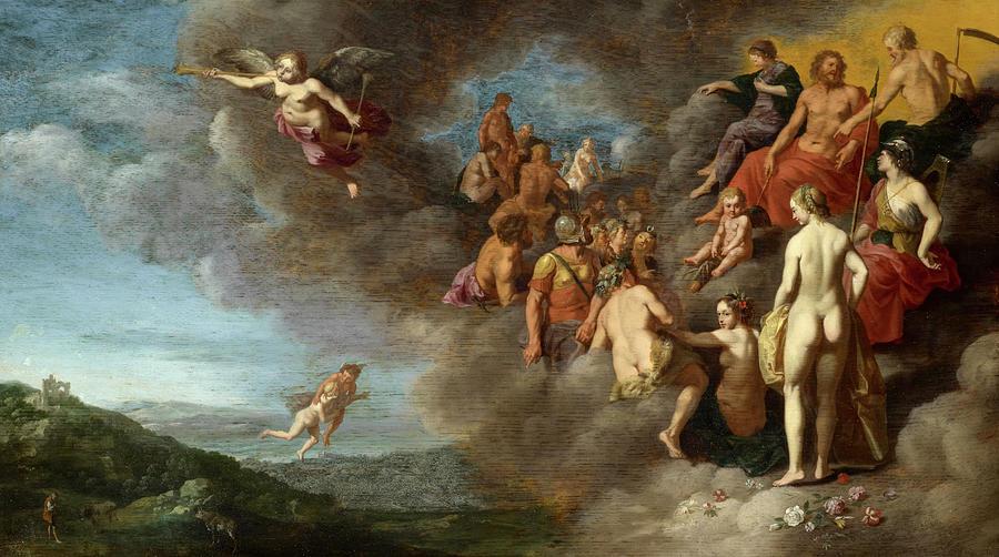 Cupid Painting - Psyche Is Carried To The Olympus By Mercury by Cornelis van Poelenburg