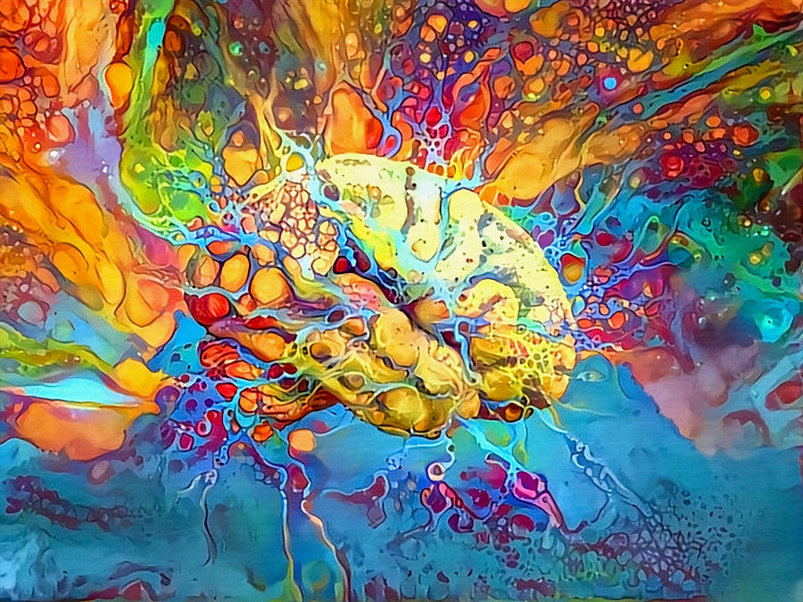 Abstract Digital Art - Psychedelic Brain by Bruce Rolff