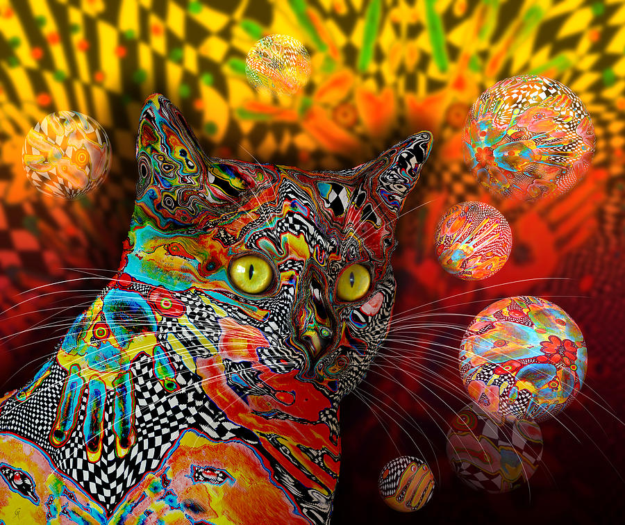 Psychedelic Cat Came Back by Carmen Hathaway
