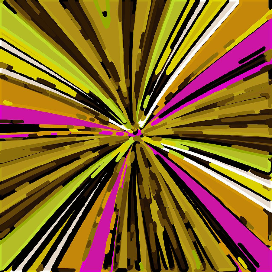 Psychedelic Geometric Graffiti Line Pattern Painting Abstract In Yellow Green Brown Pink Digital Art