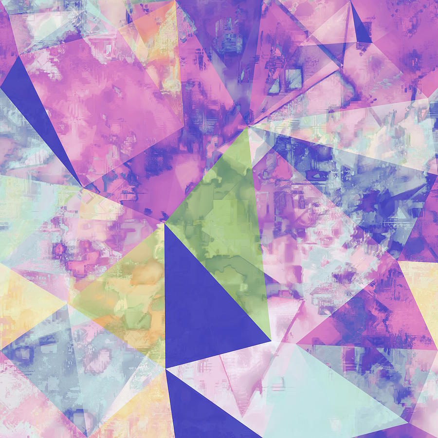 Psychedelic Geometric Triangle Polygon Pattern Abstract Background In Pink  Purple Blue Yellow