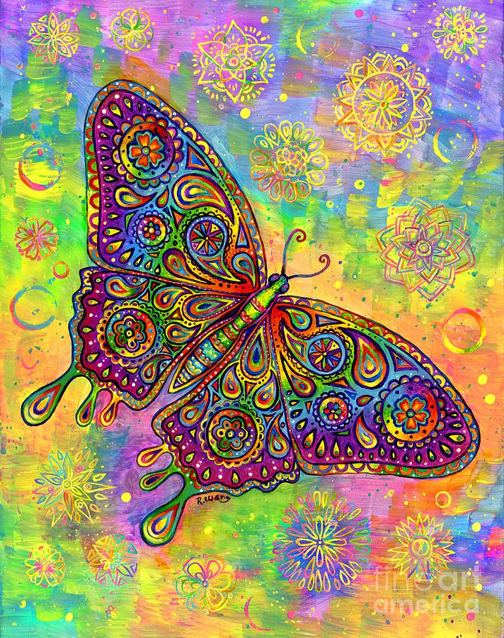 Psychedelic Paisley Butterfly by Rebecca Wang