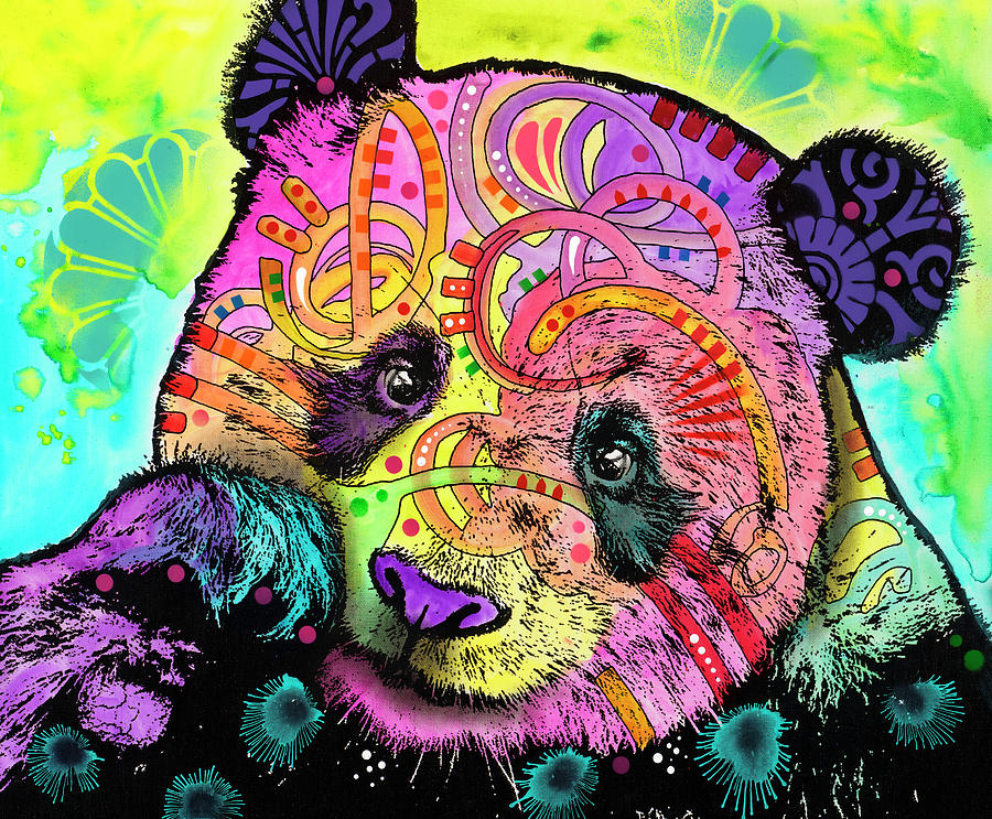 Panda Mixed Media - Psychedelic Panda by Dean Russo- Exclusive