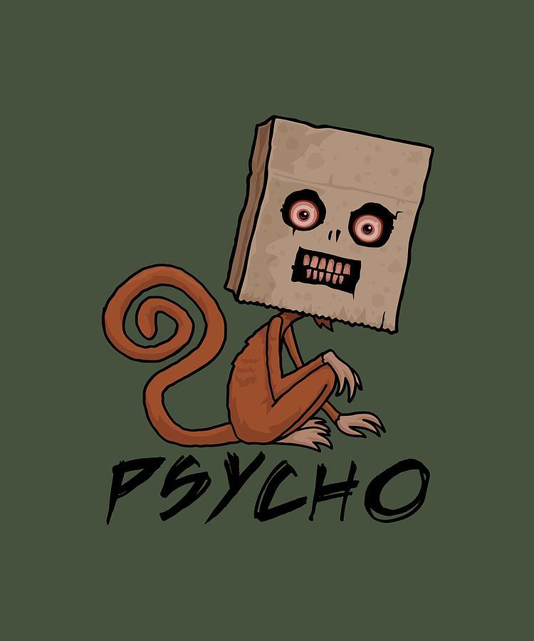 Psycho Sack Monkey With Text Digital Art