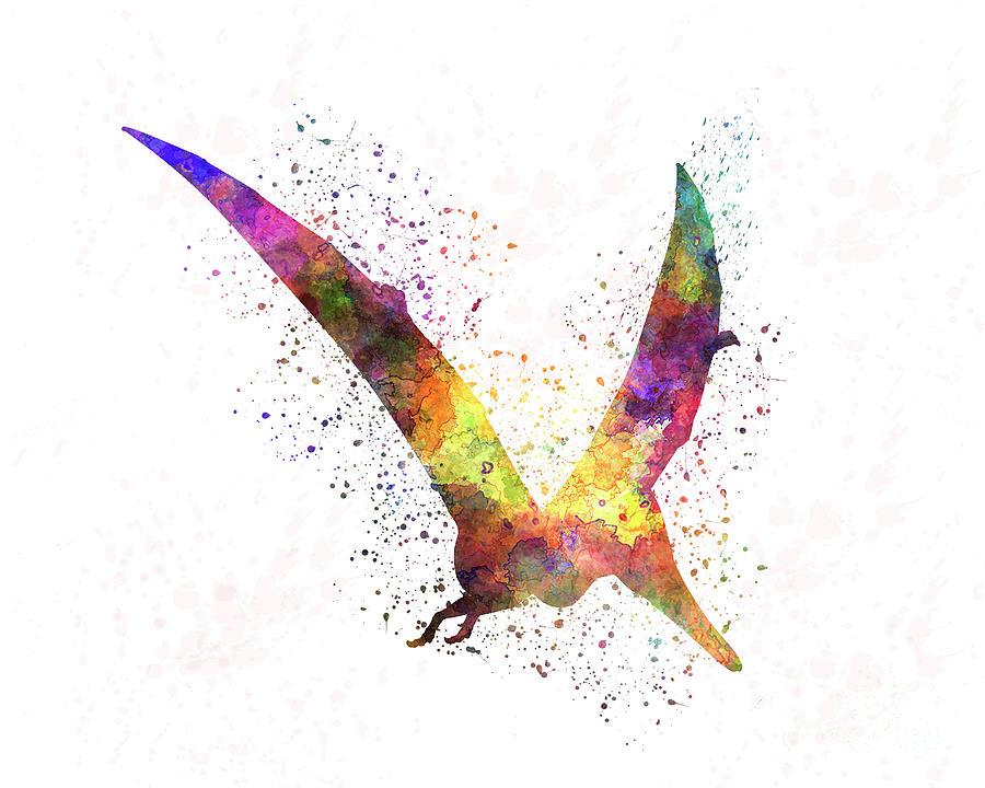 Pterodactylus dinosaur in watercolor by Pablo Romero