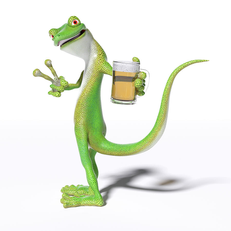 Gecko Digital Art - Pub Gecko by Betsy Knapp