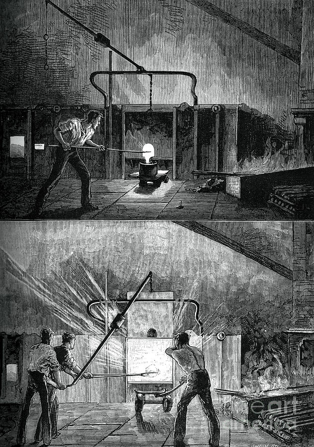 Puddlers At Work, C1880.artist Swain Drawing by Print Collector