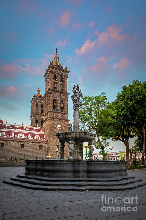 Catholic Photograph - Puebla Zocalo And Cathedral by Inge Johnsson