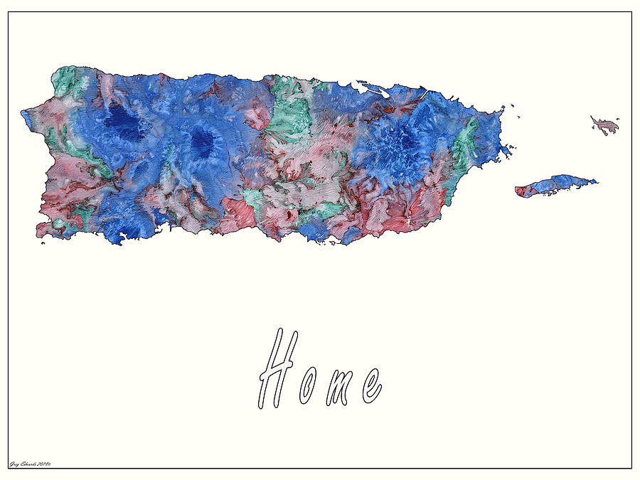 Puerto Rico Art Map Style 8 by Greg Edwards