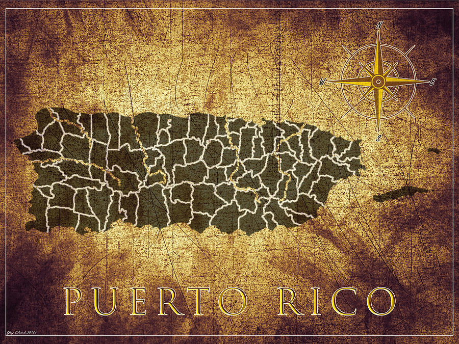 Puerto Rico Vintage Map Style 10 by Greg Edwards