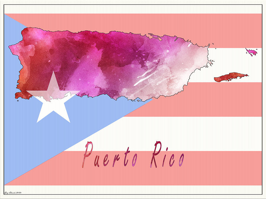 Puerto Rico Watercolor Map Style 2 by Greg Edwards
